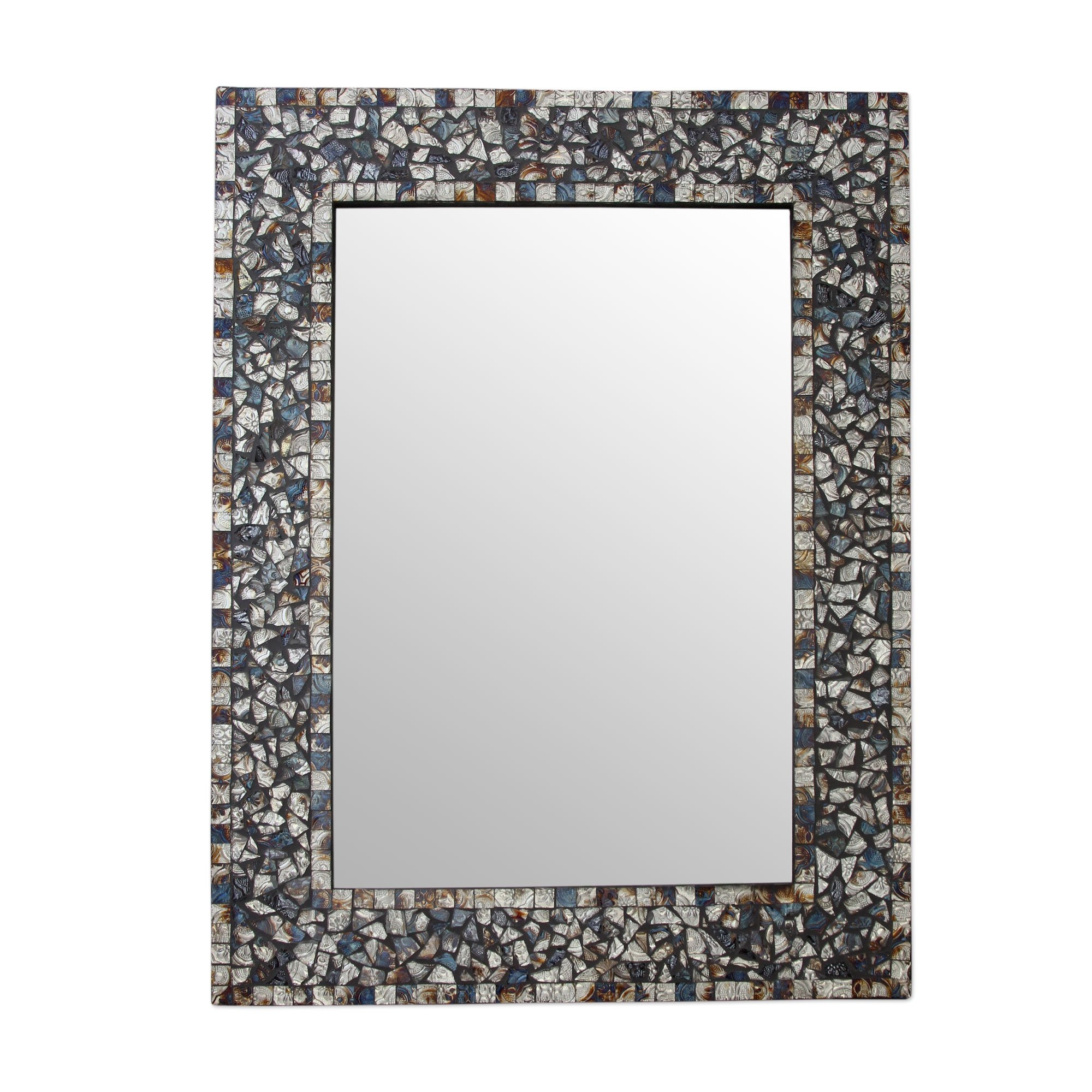Novica Glass Mosaic Wall Mirror Wayfair Regarding Black Mosaic Mirror (Image 11 of 15)