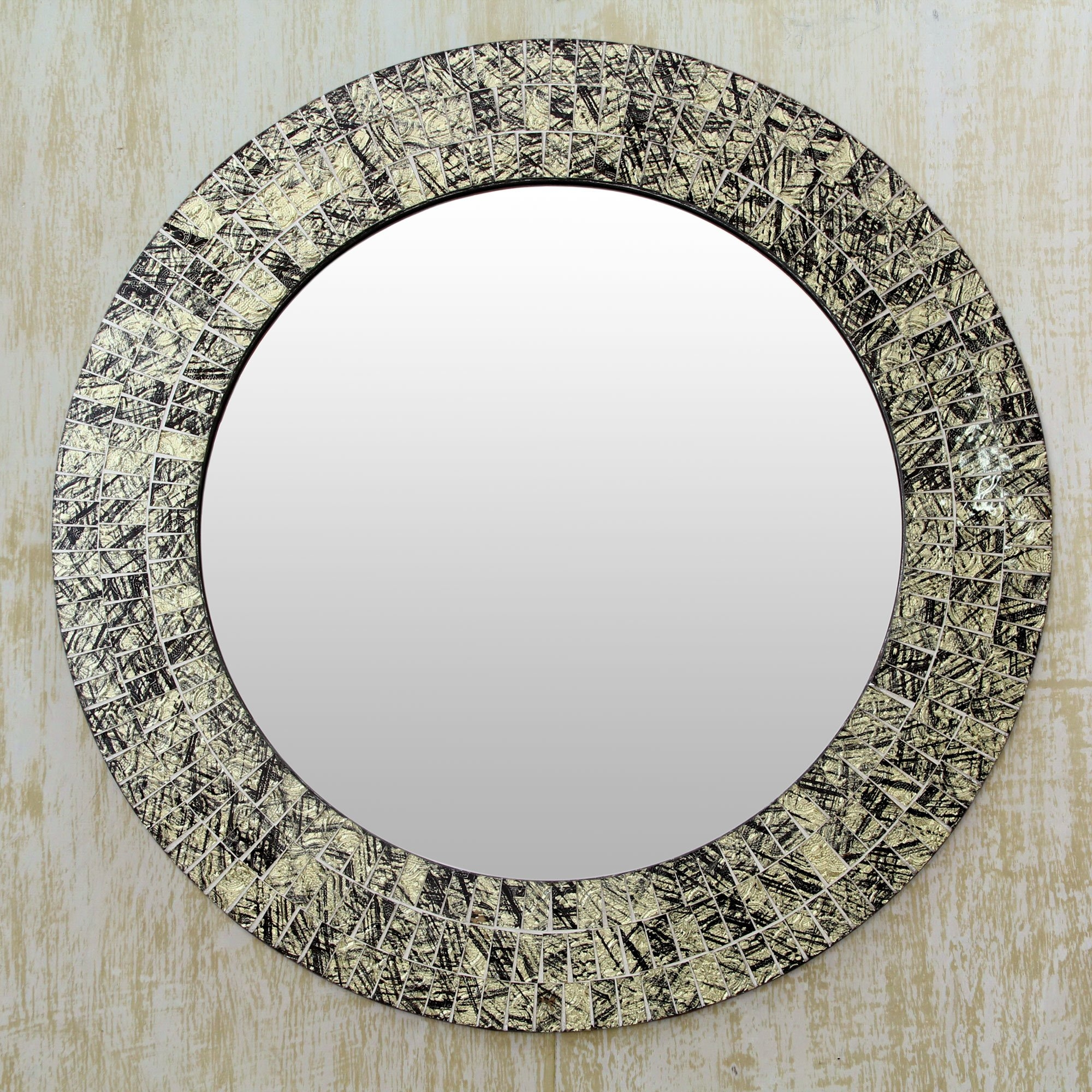 novica golden moon glass mosaic round wall mirror wayfair in round mosaic wall mirror image