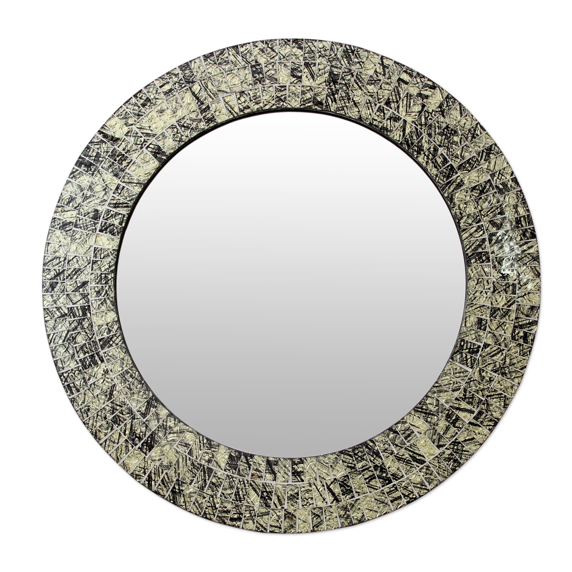 Novica Golden Moon Glass Mosaic Round Wall Mirror Wayfair Inside Round Mosaic Wall Mirror (Image 10 of 15)