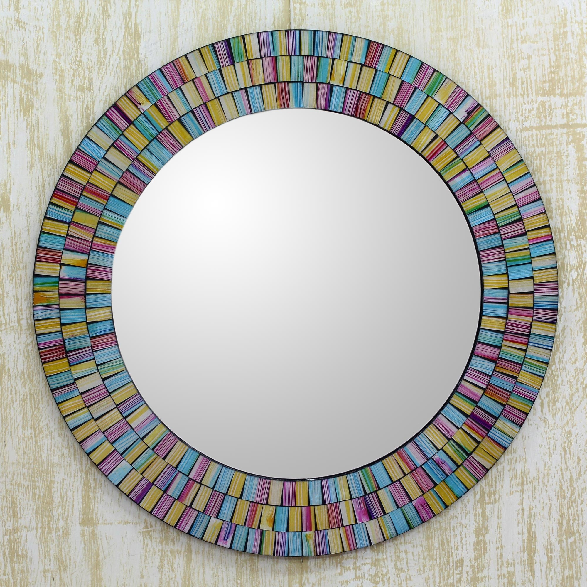 Novica Rainbow Halo Artisan Crafted Mosaic Wall Mirror Wayfair Throughout Mosaic Wall Mirror (Image 14 of 15)