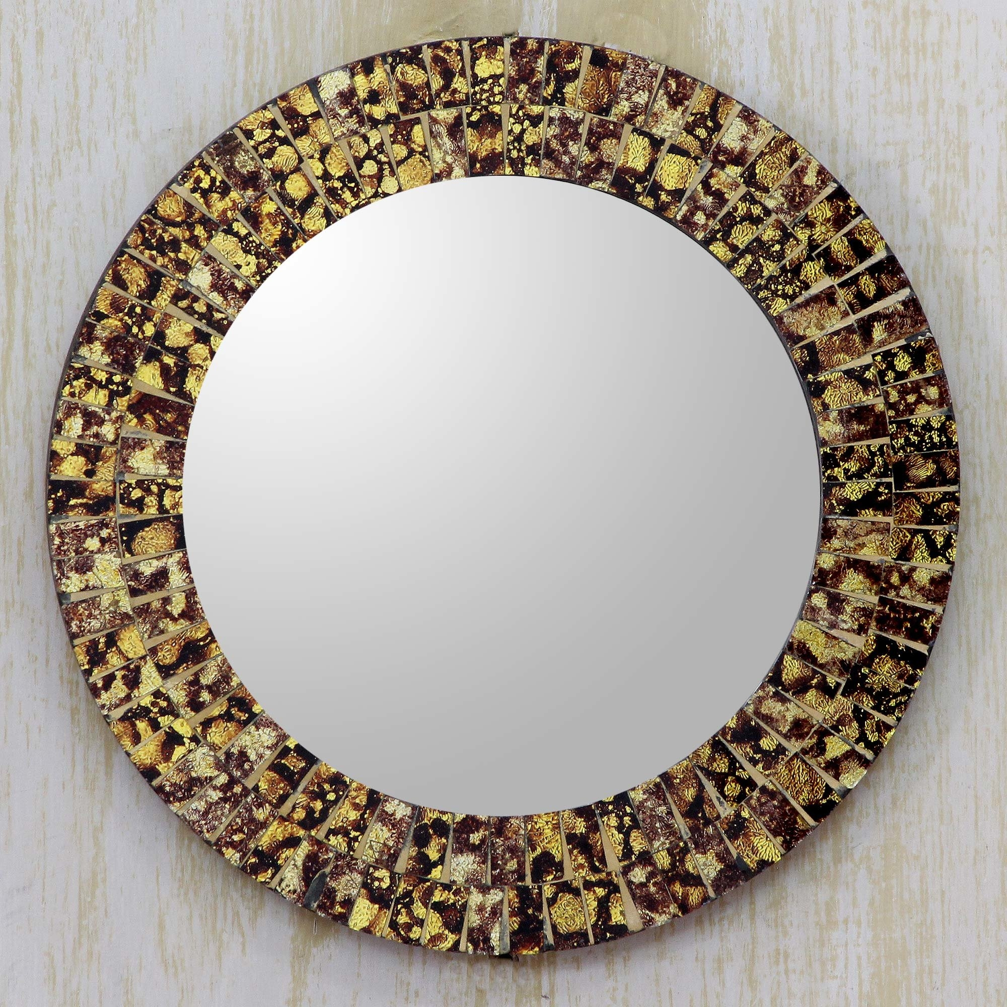 Novica Round Wall Or Table Mirror With Glass Mosaic Frame Wayfair Regarding Round Mosaic Wall Mirror (Image 11 of 15)