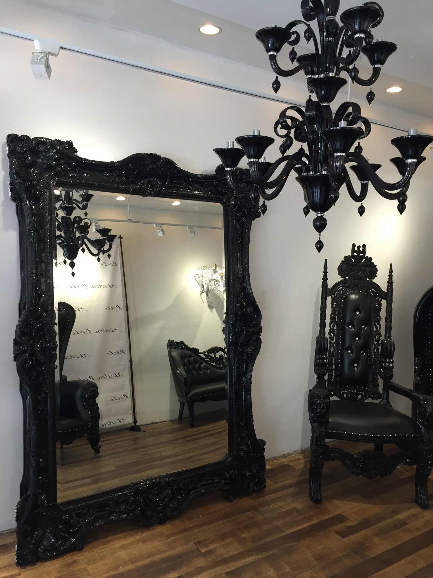 Nyc Floor Model Baroque Ornate Carved Mirror Black Victorian Throughout Black Ornate Mirrors (Image 9 of 15)