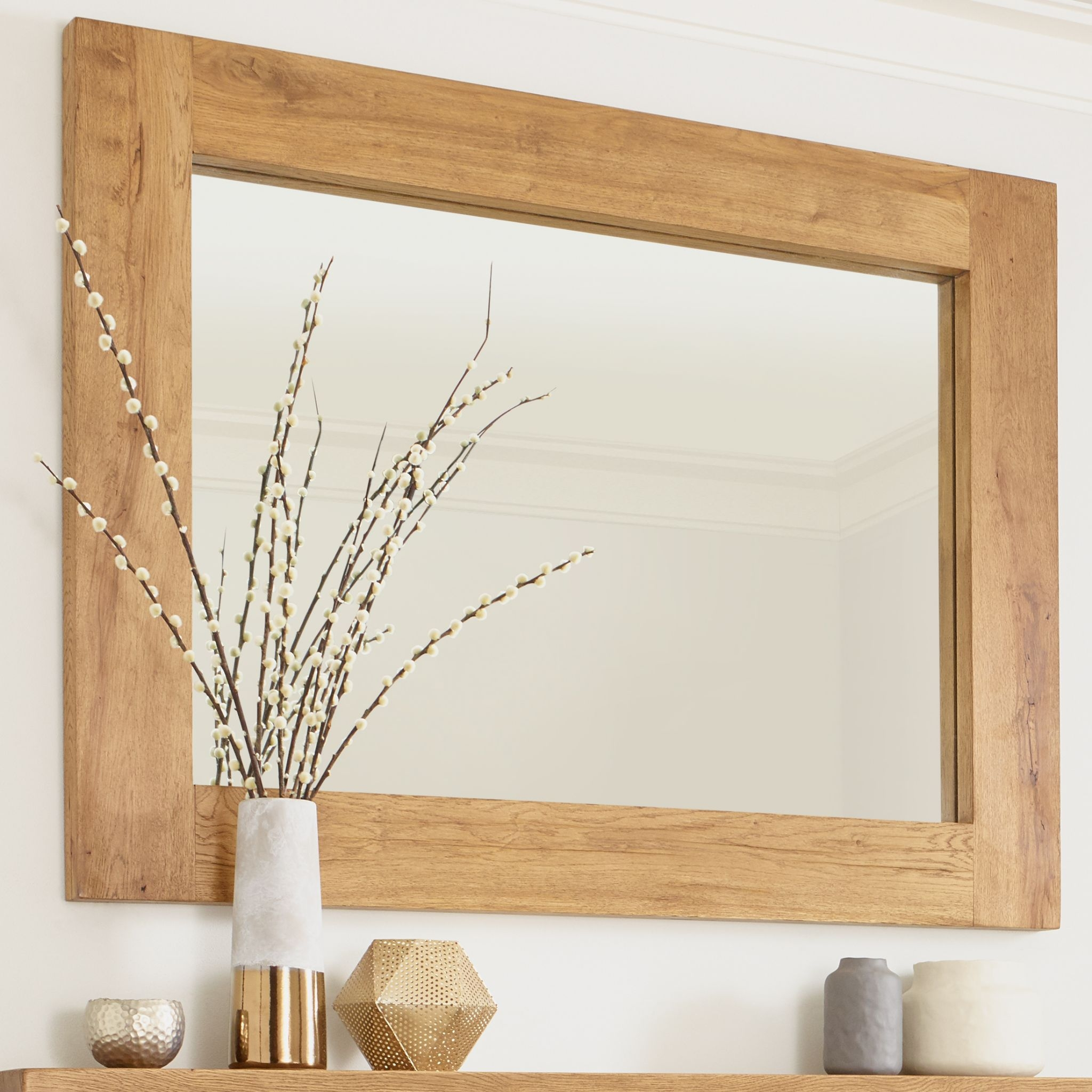 Oak Mirror Banbury Solid French Rustic Beam Throughout Oak Mirror (Image 9 of 15)