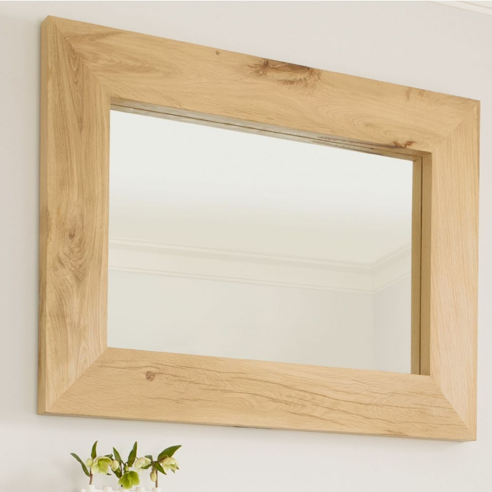 Oak Mirror Canterbury Solid French Rustic Beam Pertaining To Rustic Oak Mirror (Image 7 of 15)