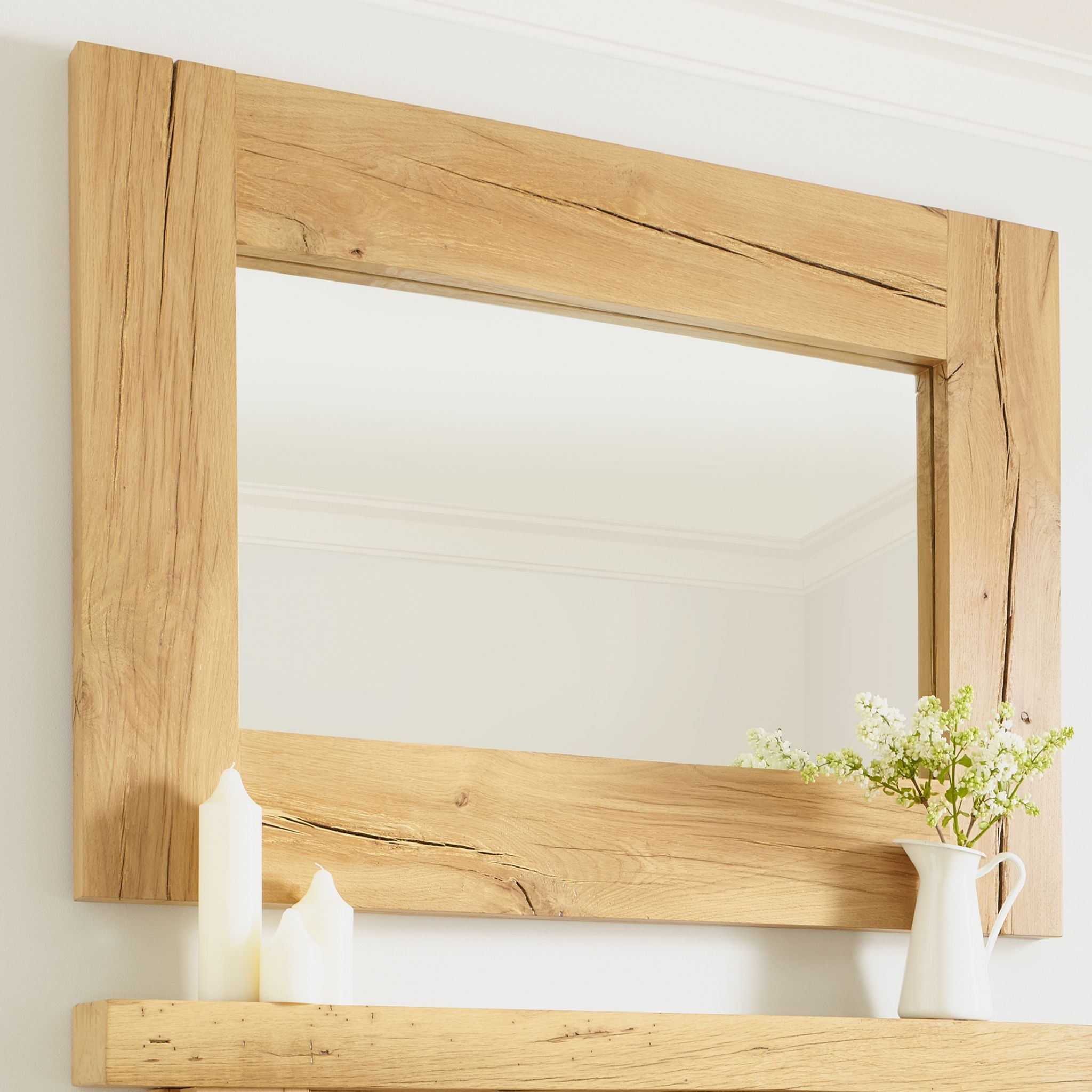Oak Mirror Oxford Solid French Rustic Beam Regarding Rustic Oak Mirror (Image 8 of 15)