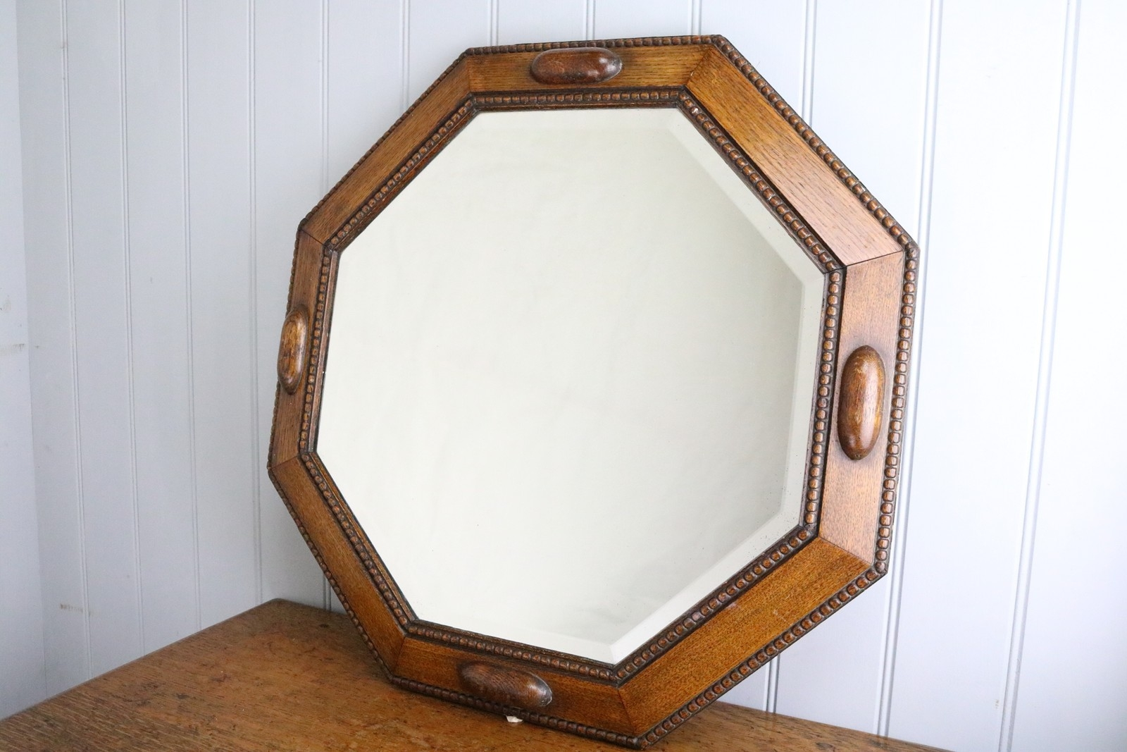 Octagonal Oak Framed Wall Mirror Circa 1930 The Hoarde Throughout Oak Framed Wall Mirrors (Image 9 of 15)
