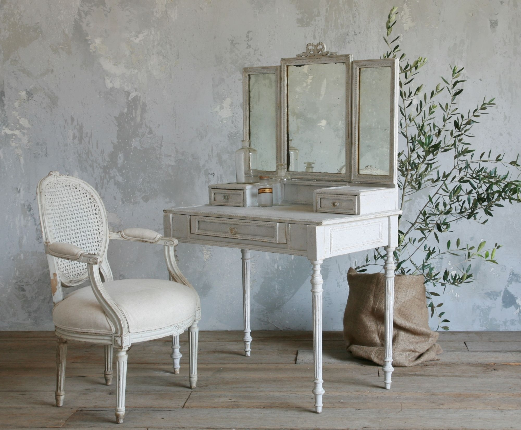 Old And Vintage French Style Small Vanity Table Painted With White Within Old French Mirrors (Image 12 of 15)