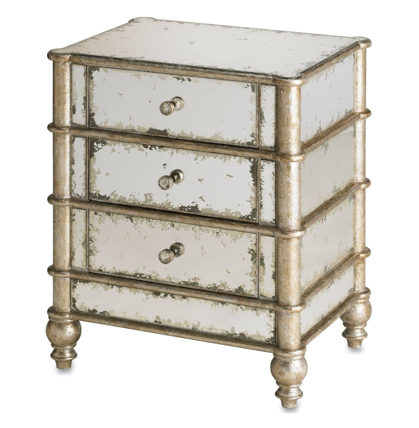 Old Antique Mirrored Bedside Table With 3 Drawer And Brass Frame Within Antique Mirrored Bedside Tables (Image 14 of 15)