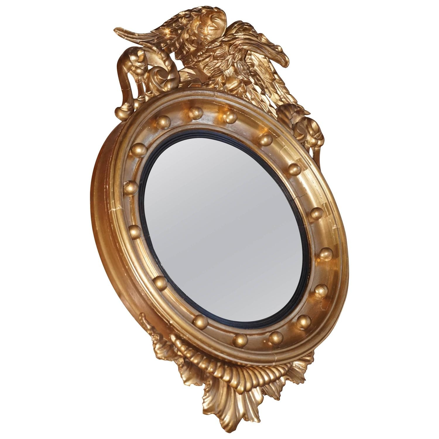 Old Brass Porthole Convex Mirror At 1stdibs Within Old Style Mirror (View 7 of 15)