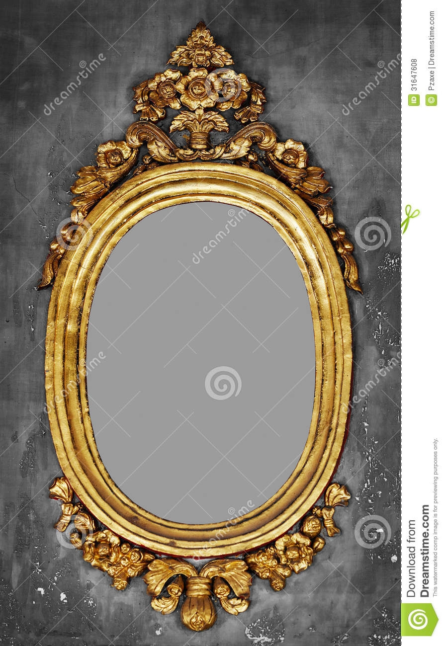 Old Fashioned Gilt Frame For A Mirror On A Concrete Wall Royalty For Old Fashioned Wall Mirrors (Image 10 of 15)