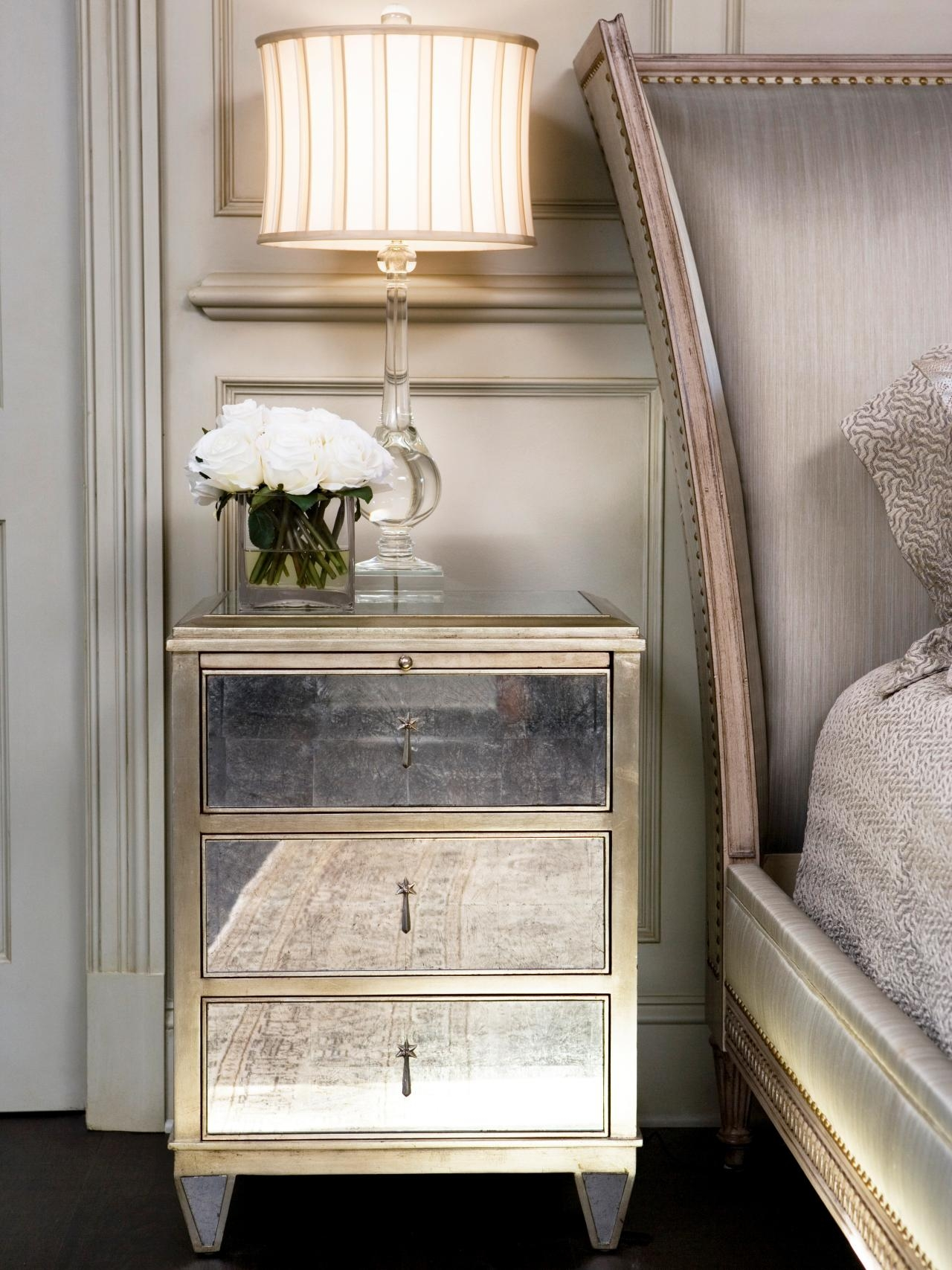 Old Style Antique 3 Drawer Mirrored Bedside Table With Brass Frame Inside Antique Mirrored Bedside Tables (Image 15 of 15)