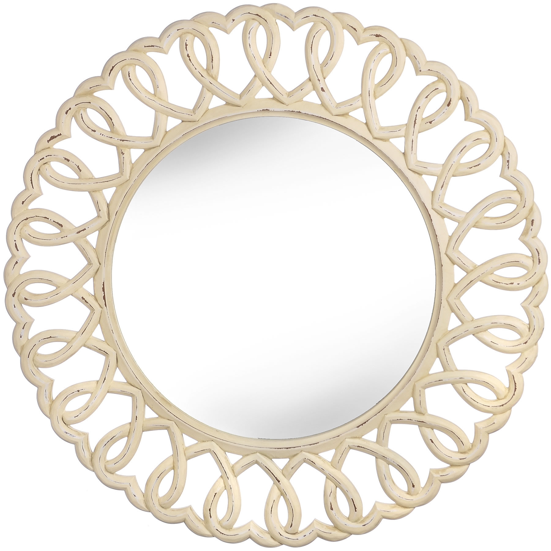 Olivia Heart Wall Mirror Stunning Large Mirror 90cm Round Wall For Large Heart Mirror (Image 13 of 15)