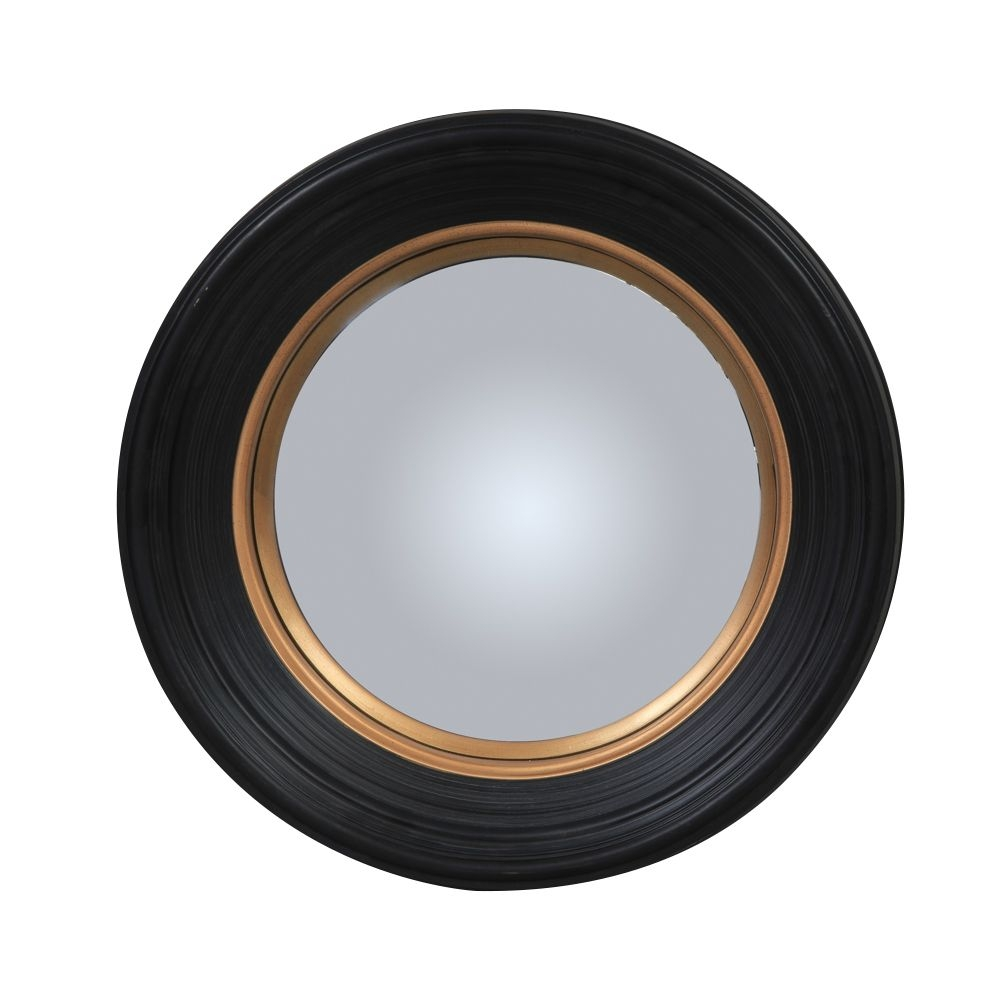 Olly Round Black Convex Mirror Medium Intended For Black Convex Mirror (Image 8 of 15)