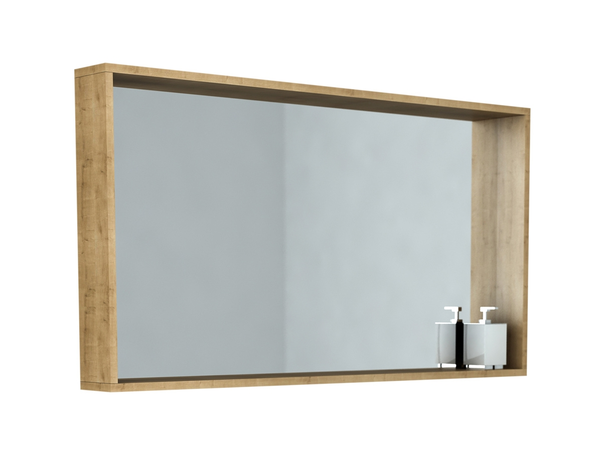 Omvivo Venice 1200 Arlington Oak Box Frame Mirror Bathroom Pertaining To Oak Framed Wall Mirrors (Image 10 of 15)