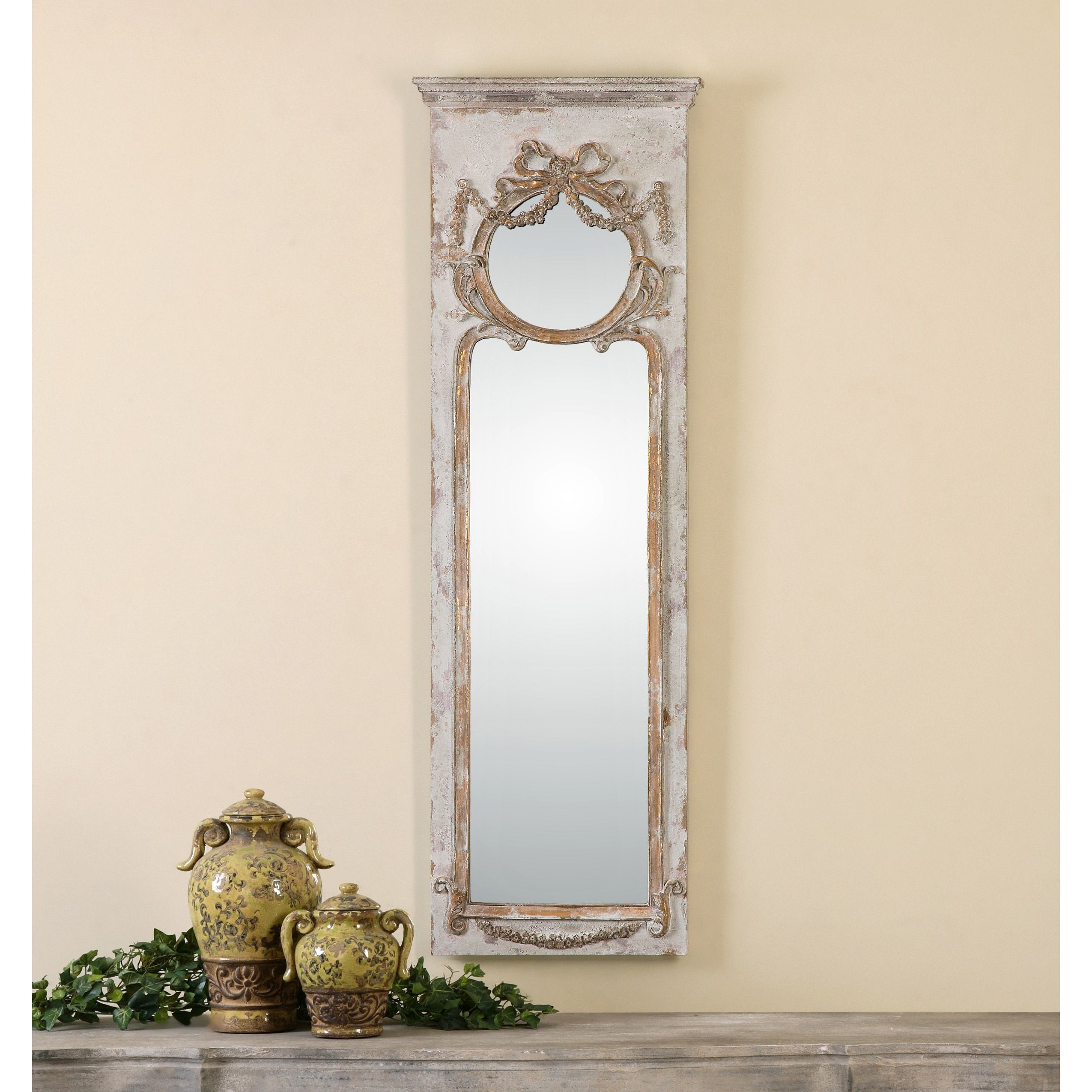 One Allium Way Ivory Ornate Frame Wall Mirror Reviews Wayfair In Ivory Ornate Mirror (Image 11 of 15)
