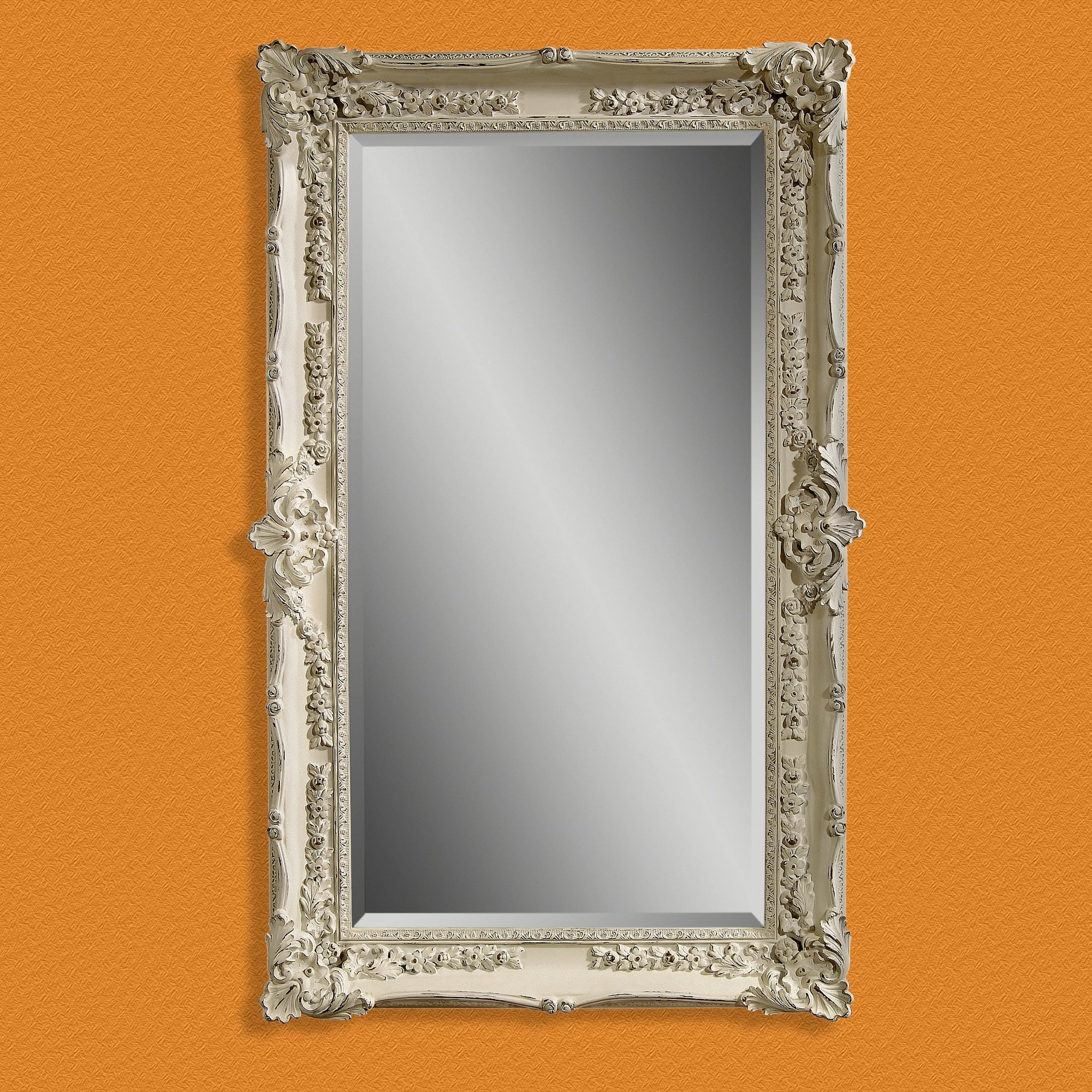 One Allium Way Rectangle Antique White Rubbed Wall Mirror Within Antiqued Wall Mirror (Image 9 of 15)