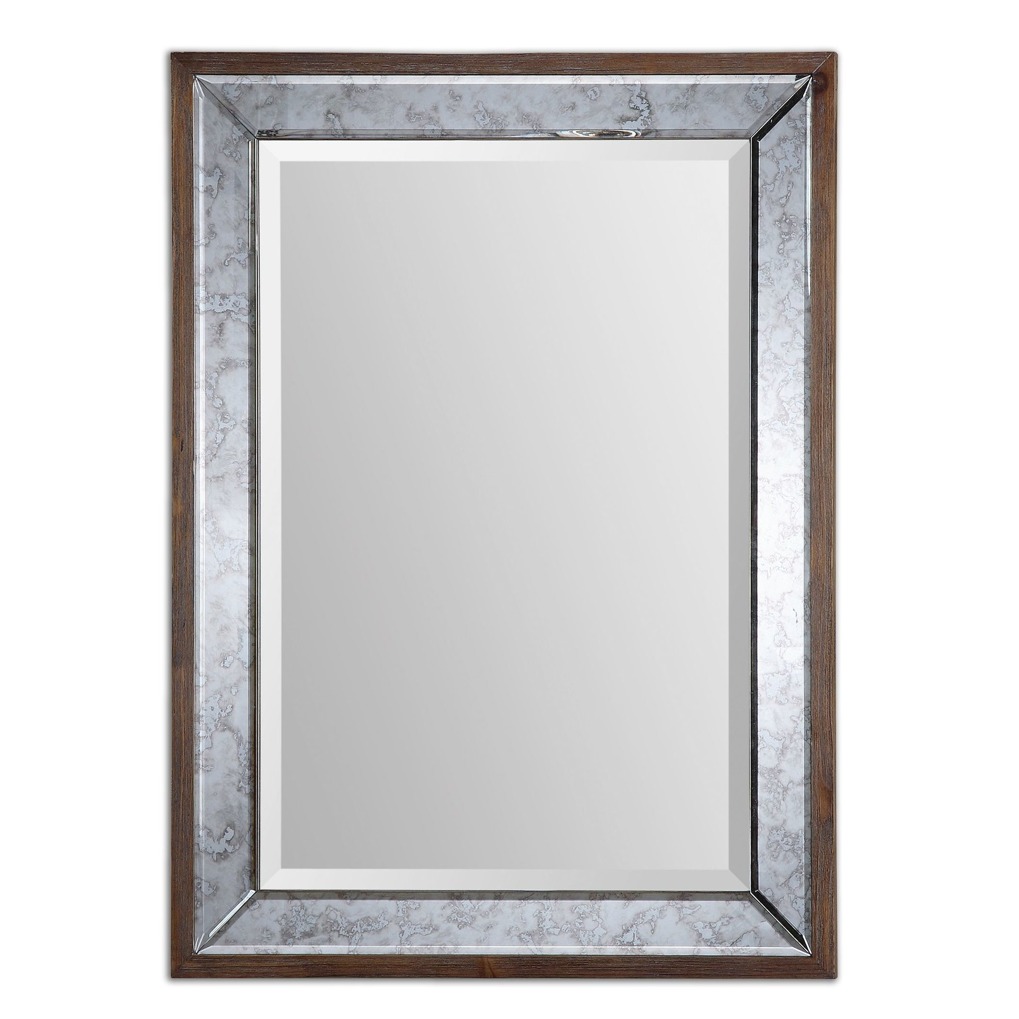 One Allium Way Rectangle Brownsilver Framed Mirror Reviews Intended For Rectangular Silver Mirror (View 9 of 15)