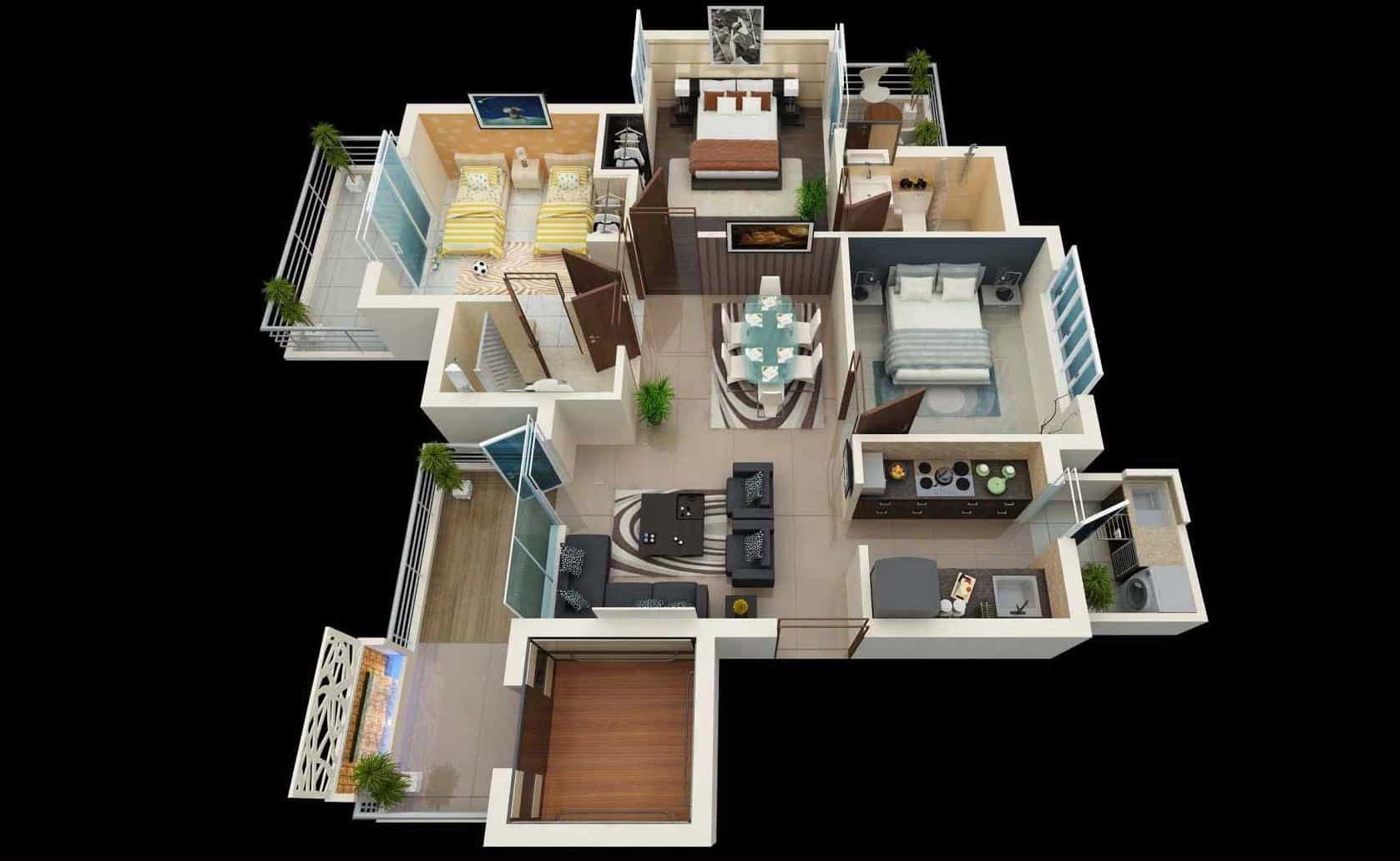 Open Space House Floor Plans With 3 Bedroom And 2 Toilet 3d Layout (Image 10 of 11)