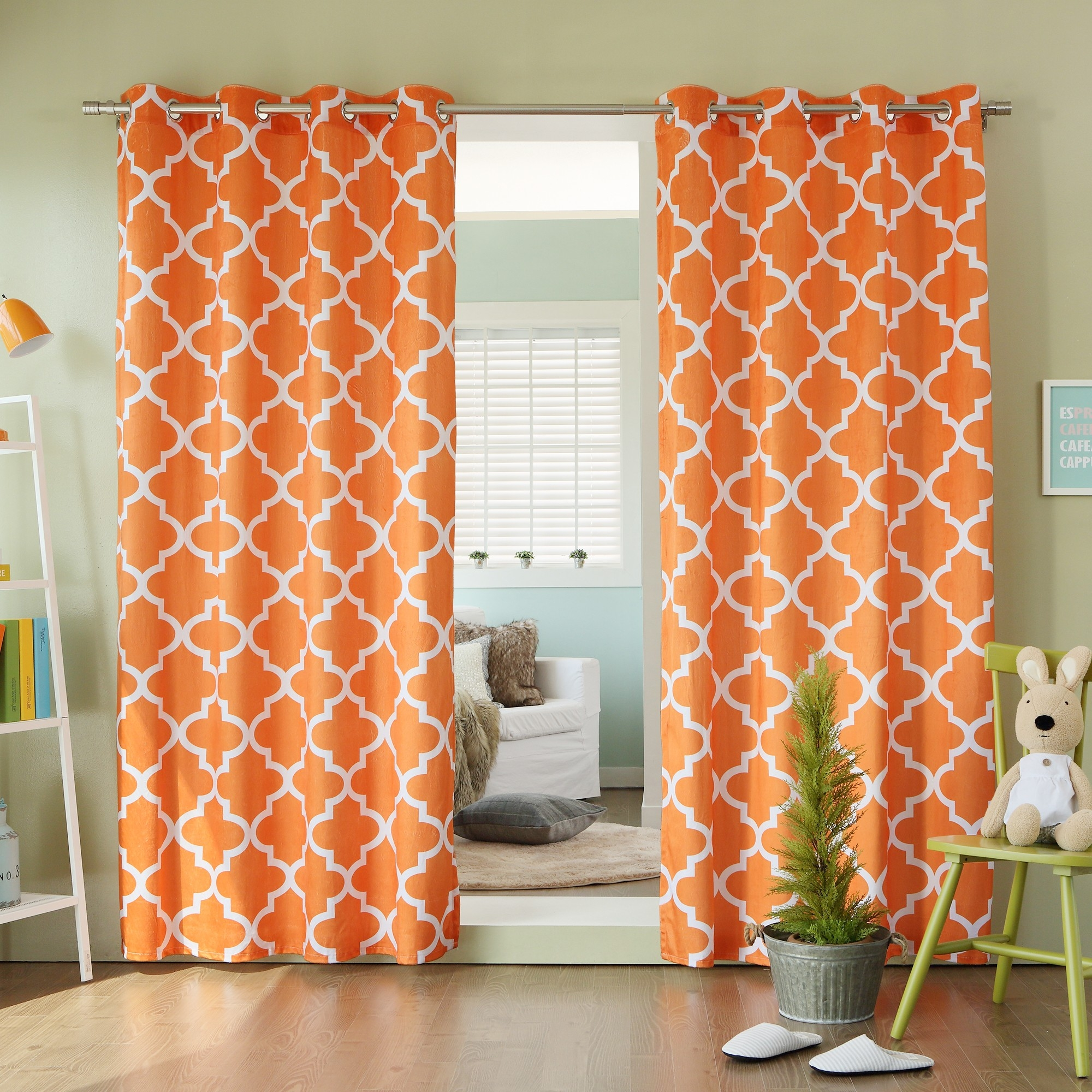 Orange And Aqua Curtains Inspiration Decoration Il Fullxfull Throughout Moroccan Print Curtains (Image 14 of 15)