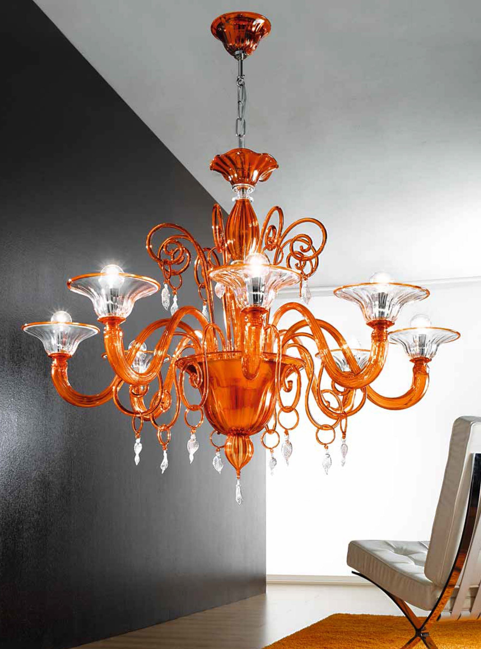 Orange And Clear Murano Glass Chandelier Mll972k8 Murano In Murano Chandelier (Image 13 of 15)