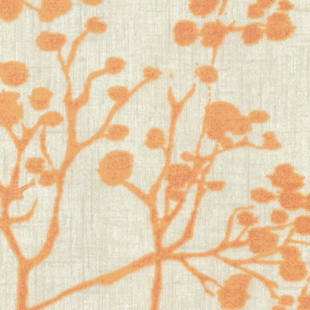 Orange Beige Branches Leaves Botanical Patterned Roller Blinds Intended For Orange Roller Blinds (Image 8 of 15)