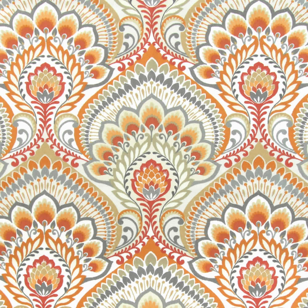 Orange Grey Taupe White Psychedelic Paisley Patterned Roman Blinds For Orange Roller Blinds (Image 10 of 15)