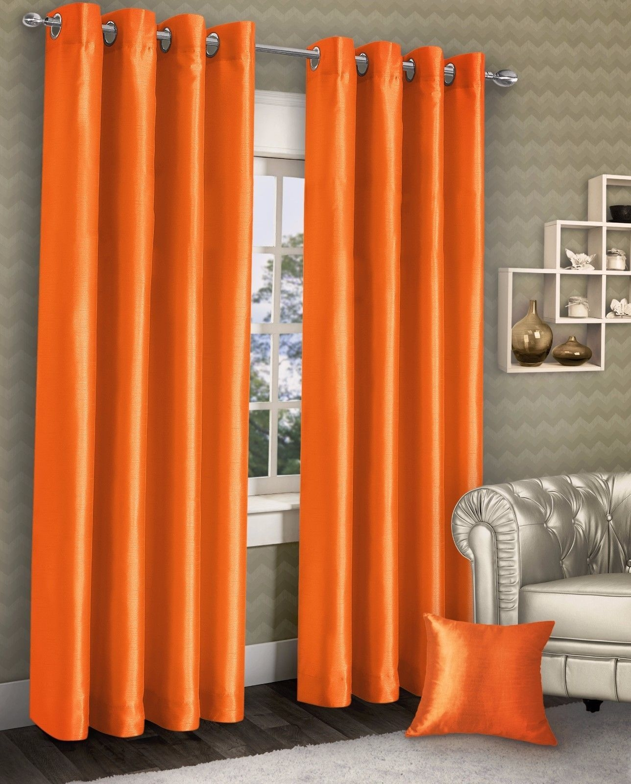 Orange Silk Curtains Pertaining To Orange Silk Curtains (Image 13 of 15)