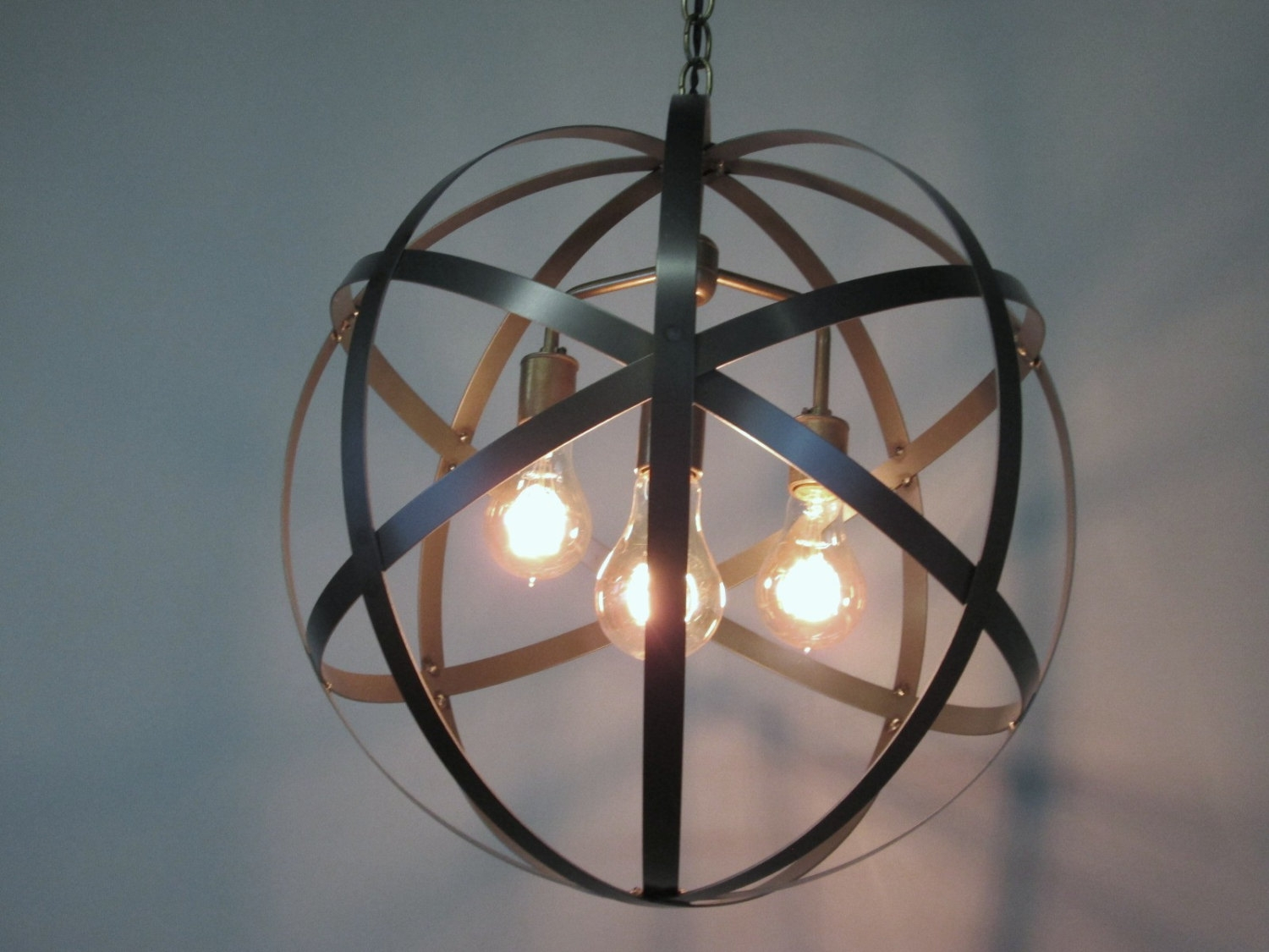 Orb Chandelier Etsy Within Metal Sphere Chandelier (Image 13 of 15)
