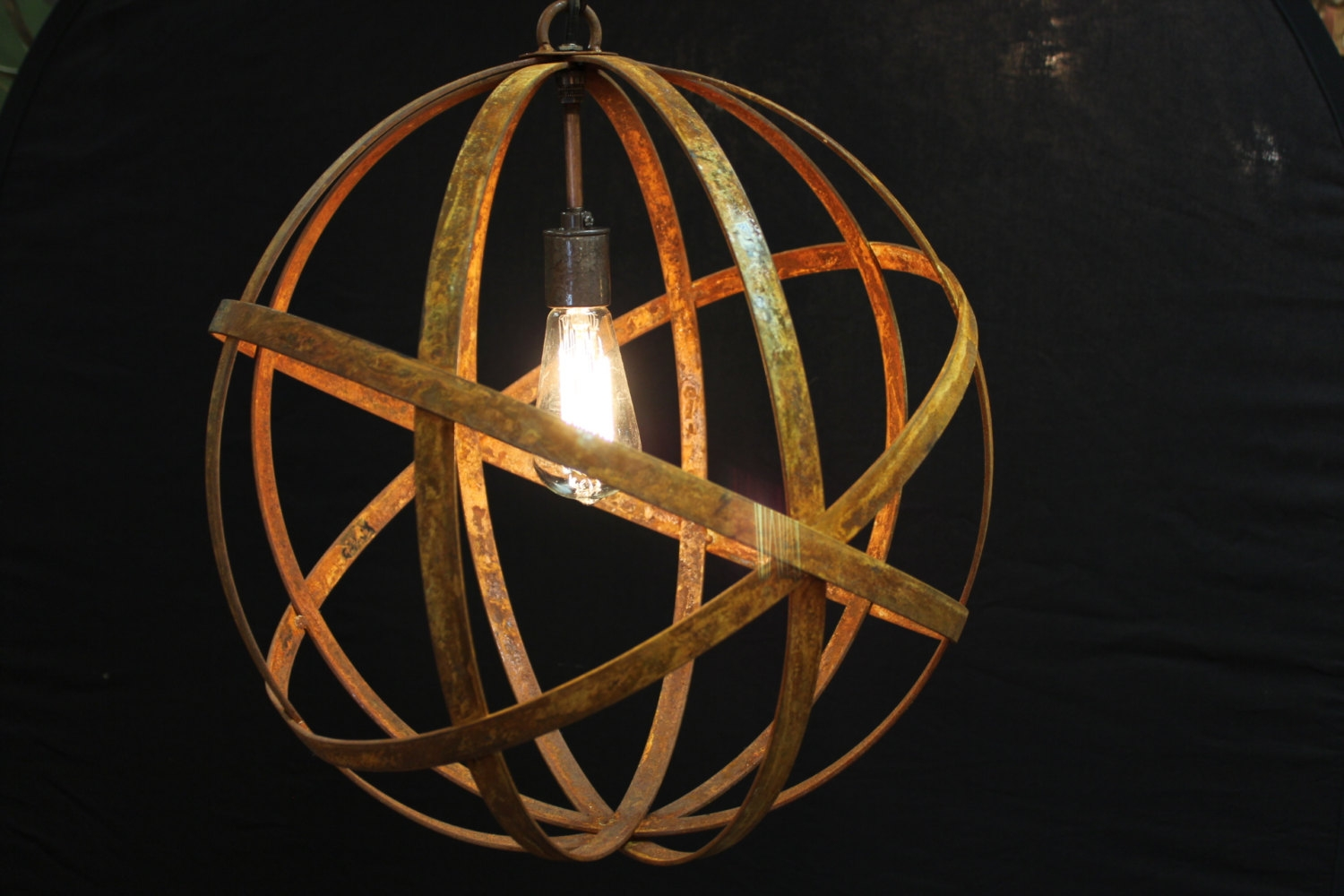 Orb Chandelier Industrial Sphere Metal Strap Globe Hanging For Metal Sphere Chandelier (Image 15 of 15)