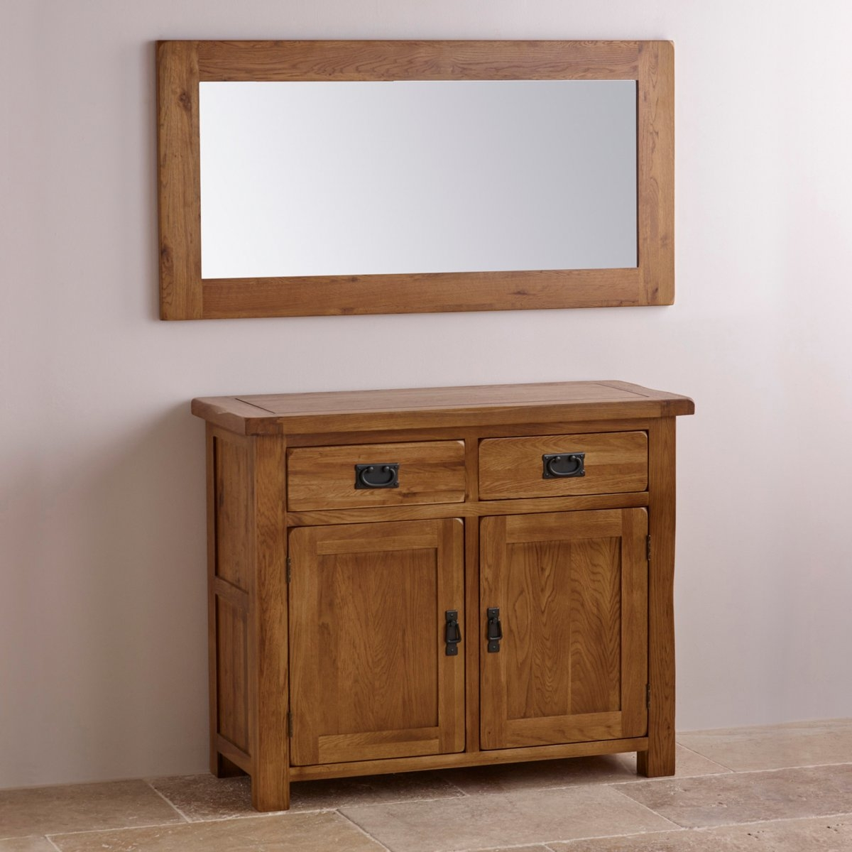 Original Rustic Wall Mirror In Solid Oak Oak Furniture Land In Rustic Oak Mirror (Image 10 of 15)