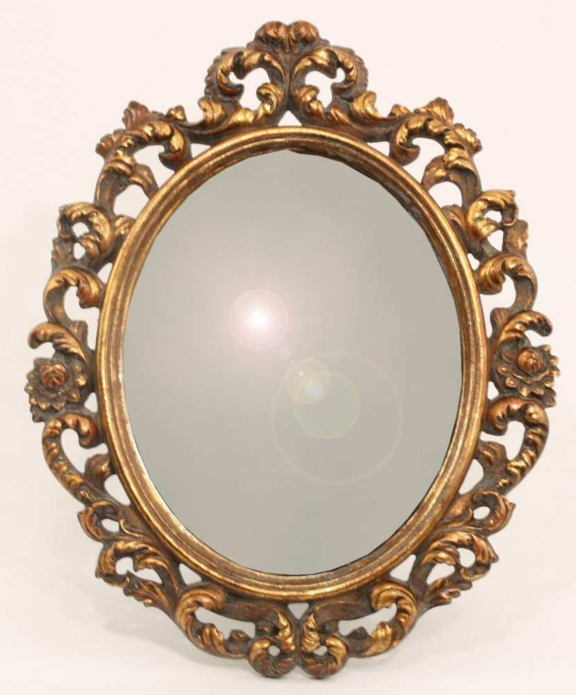 Ornate Antique Gold Small Oval Mirror Amazoncouk Kitchen With Antique Gold Mirrors (Image 10 of 15)