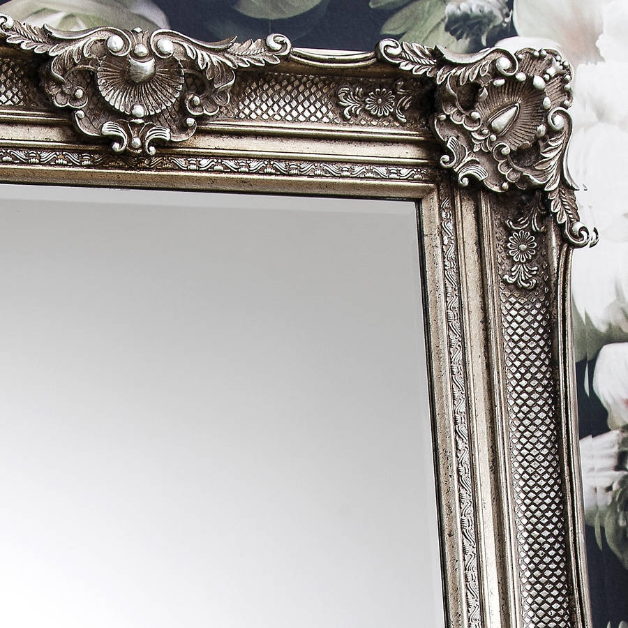 Ornate Antique Silver Leaner Mirror Primrose Plum For Ornate Leaner Mirror (Image 9 of 15)