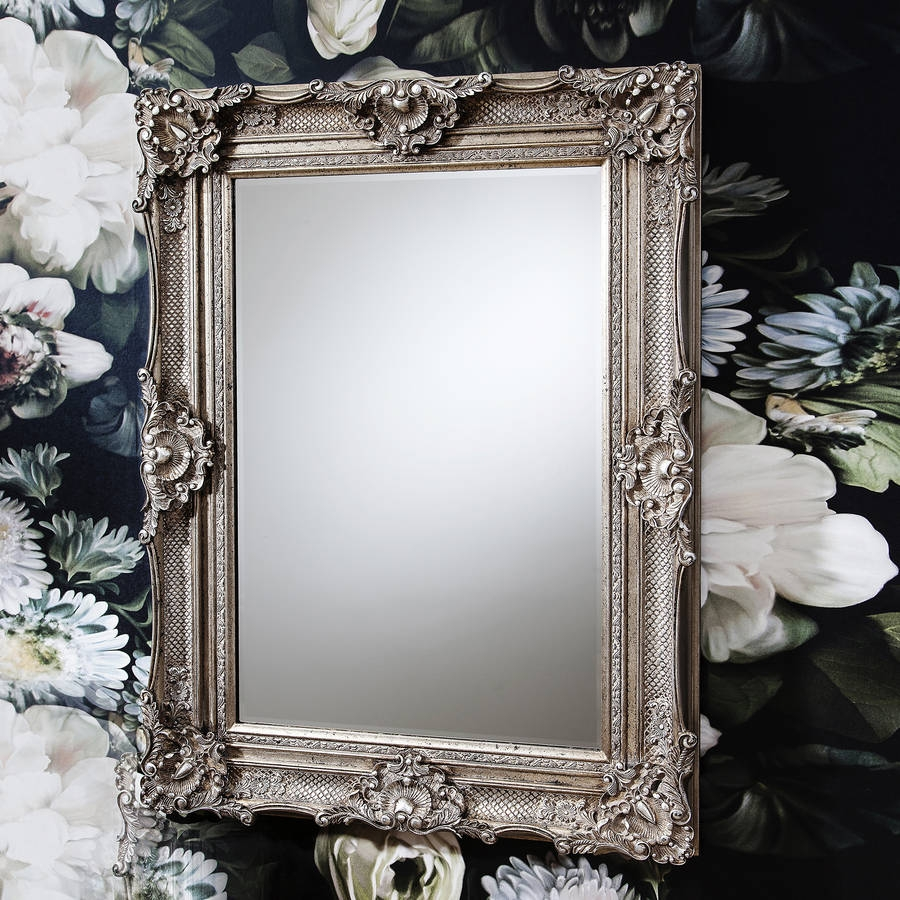 Ornate Antique Silver Wall Mirror Primrose Plum For Antique Ornate Mirror (Image 11 of 15)