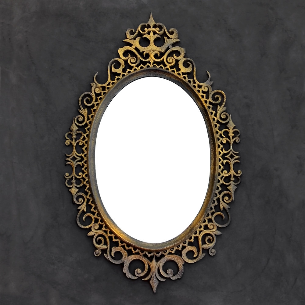 Ornate Black Gold Mirror Oval Mirror Iron Gate Style Inside Black Victorian Style Mirror (Image 9 of 15)