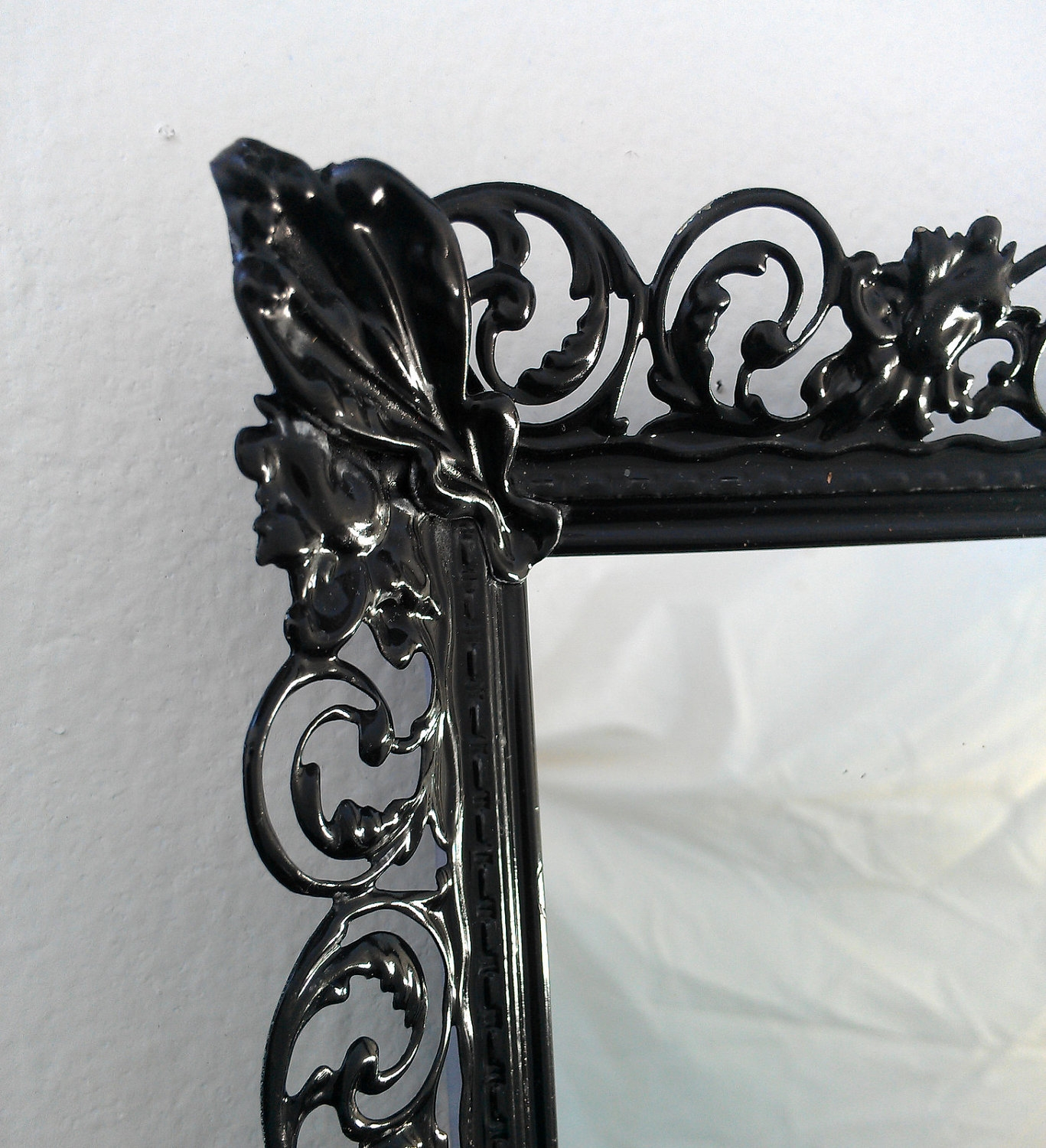Ornate Black Mirror In Vintage Brass Filigree Frame Pertaining To Black Vintage Mirror (Image 10 of 15)