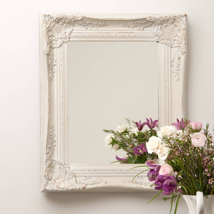 Ornate French Style White Distressed Mirror Hand Crafted Intended For White Ornate Mirrors (Image 10 of 15)