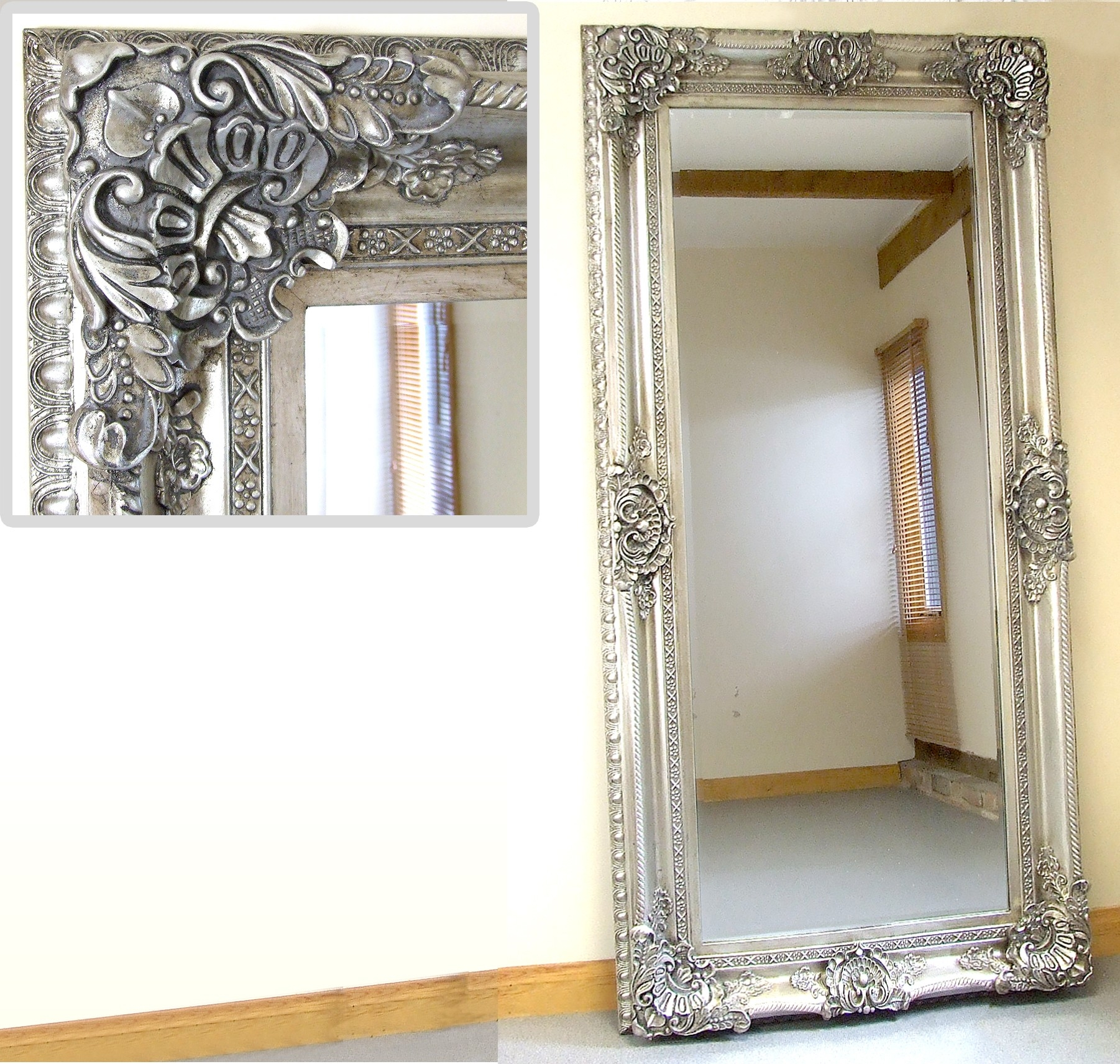 Ornate Full Length Wall Mirror Mirror Design Ideas Within Silver Full Length Mirror (Image 9 of 15)