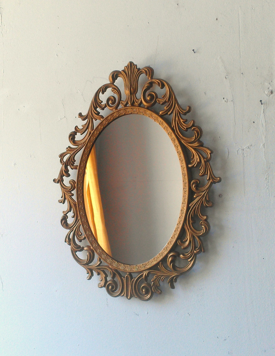 Ornate Gold Mirror Etsy Intended For Gold Ornate Mirror (Image 9 of 15)