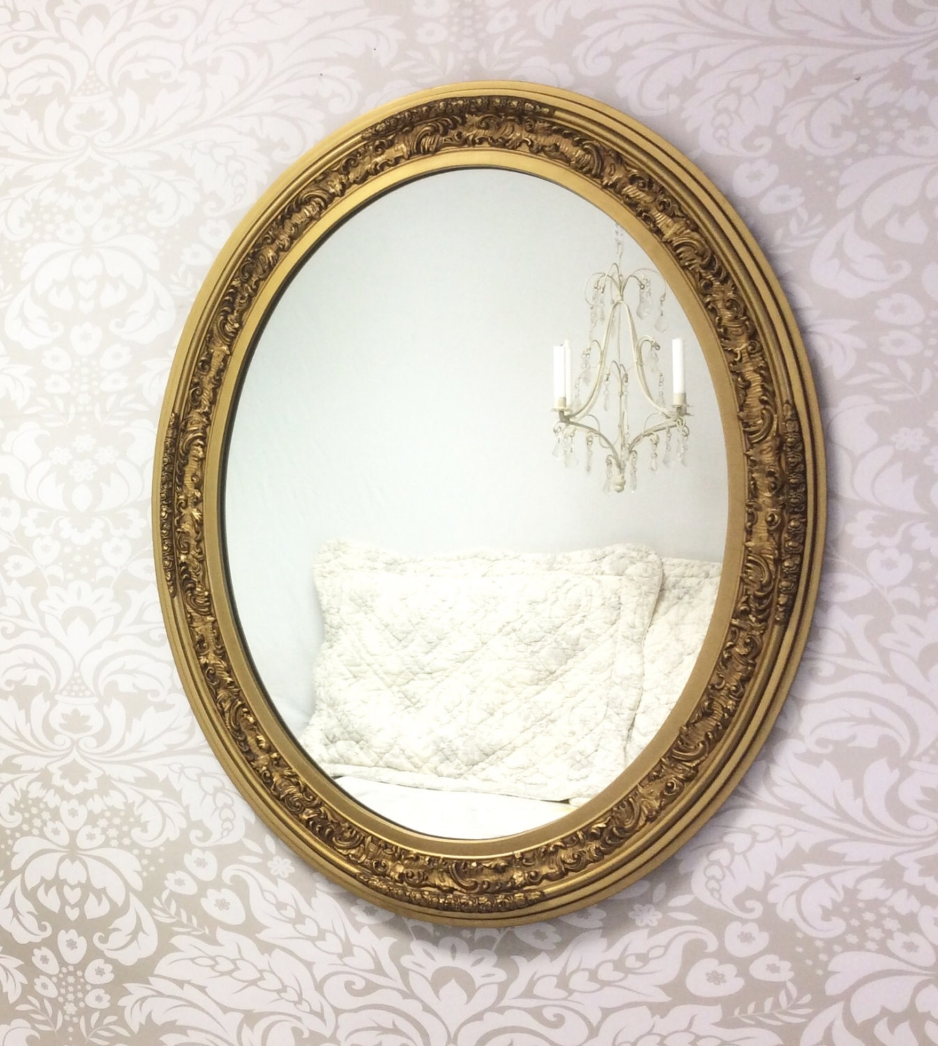 Ornate Gold Mirror Etsy Pertaining To Oval Shabby Chic Mirror (Image 9 of 15)