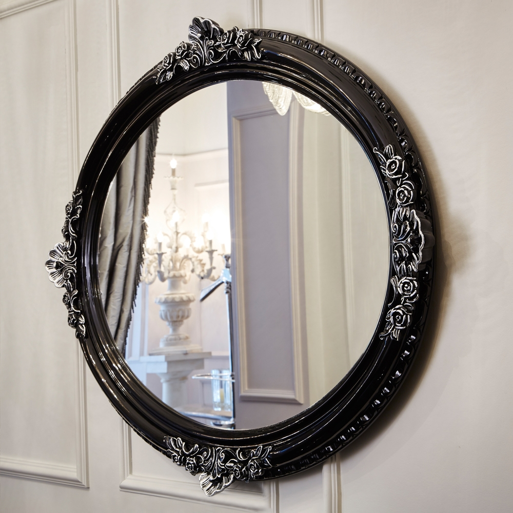 Ornate High Gloss Black Oval Mirror Juliettes Interiors Pertaining To Black Oval Mirror (Image 8 of 15)
