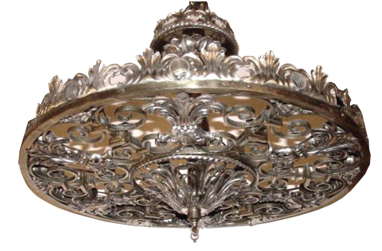 Ornate Nickel Bronze Art Deco Theater Light Chandelier Modernism Pertaining To Ornate Chandeliers (Image 12 of 15)