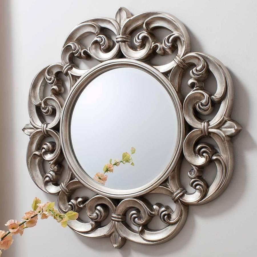Ornate Round Pewter Mirror Primrose Plum Notonthehighstreet For Mirror Ornate (Image 8 of 15)