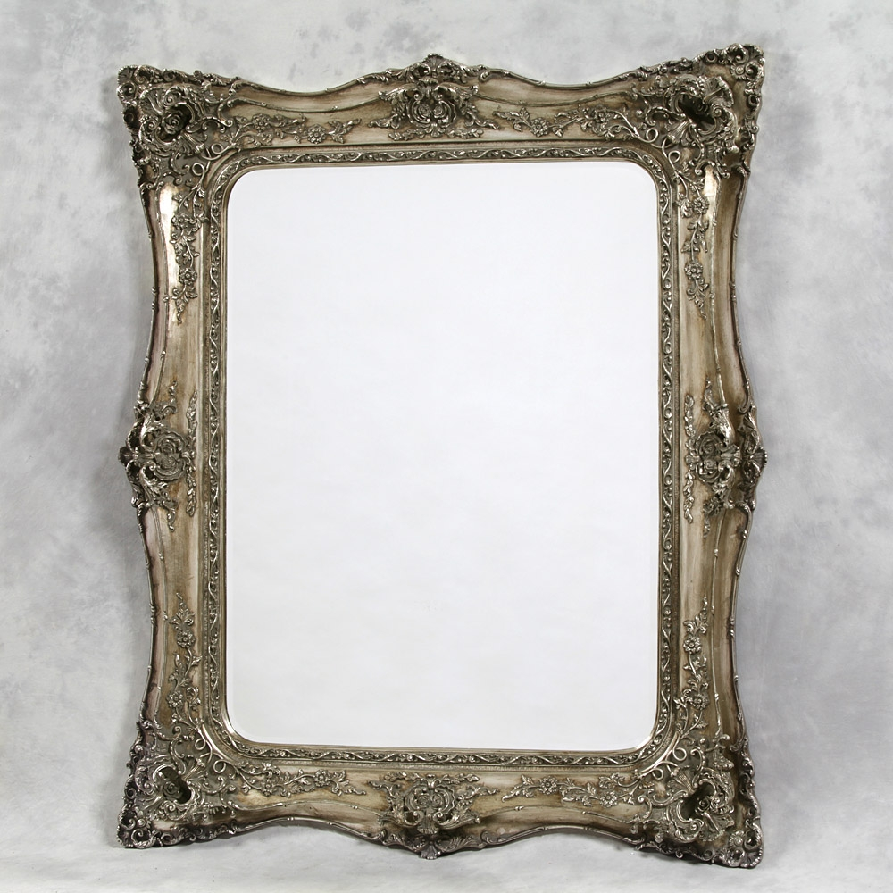 Ornate Silver Decorative Mirror 164 X 135cm Exclusive Mirrors With Large Ornate Silver Mirror (Image 13 of 15)