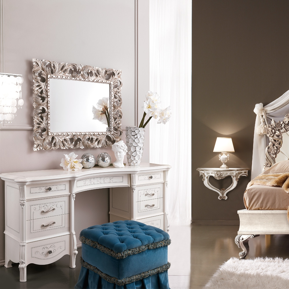 Ornate Silver Leaf Rococo Wall Mirror Juliettes Interiors In Ornate Dressing Table Mirror (Image 9 of 15)
