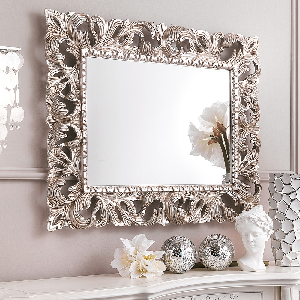 Ornate Silver Leaf Rococo Wall Mirror Juliettes Interiors Inside Large White Rococo Mirror (Image 11 of 15)