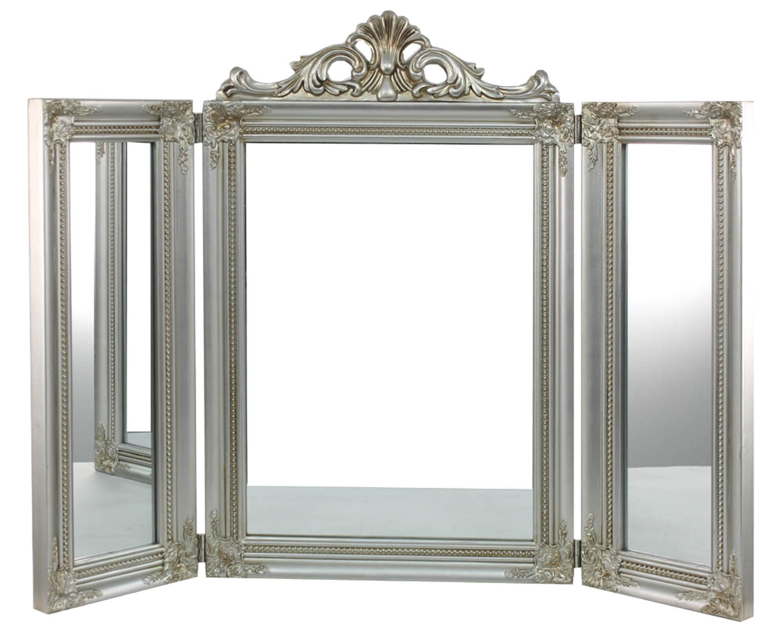Ornate Silver Painted Triple Dressing Table Mirror Scarthingwell Intended For Ornate Dressing Table Mirror (Image 11 of 15)