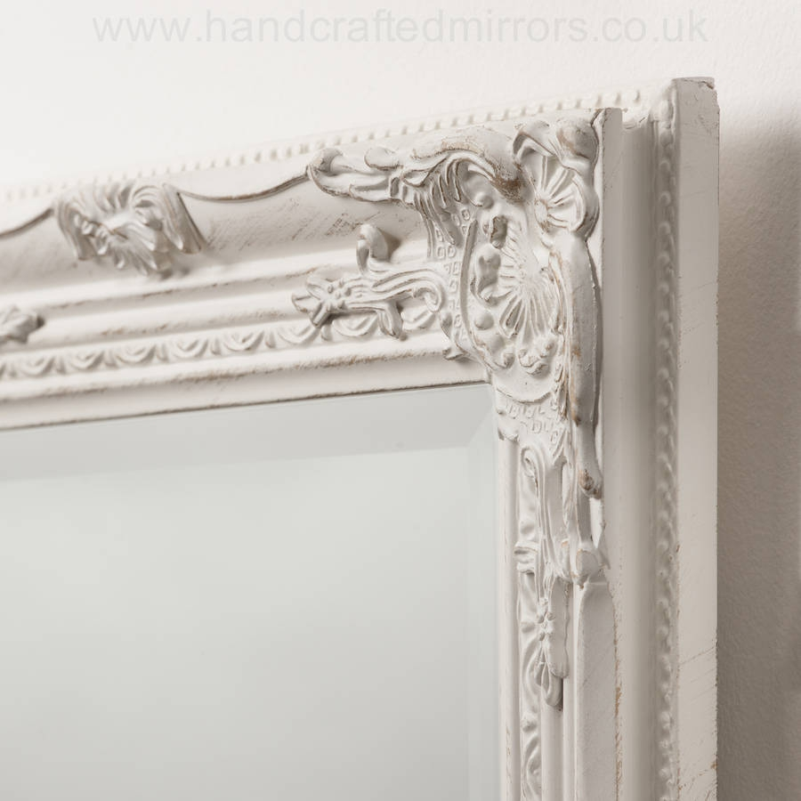 Ornate Vintage Silver Pewter Mirror Full Length Hand Crafted In Distressed Cream Mirror (Image 13 of 15)