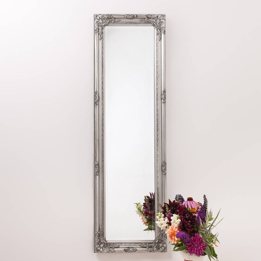 Ornate Vintage Silver Pewter Mirror Full Length Hand Crafted Pertaining To Vintage Full Length Mirrors (Image 9 of 15)