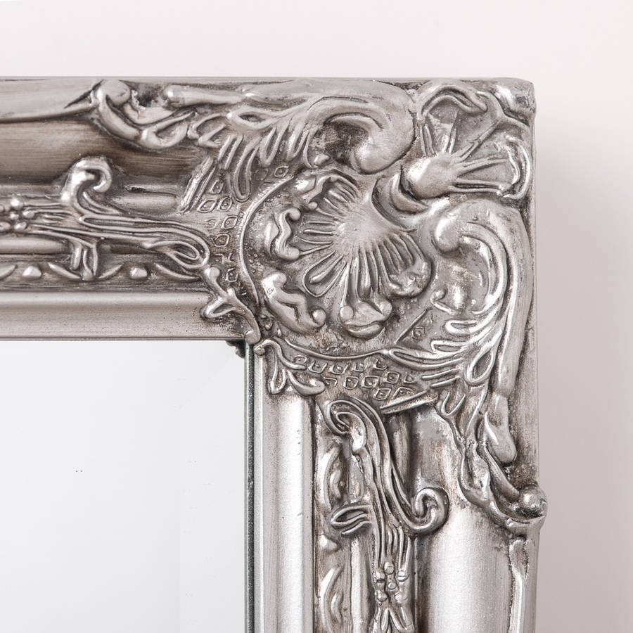 Ornate Vintage Silver Pewter Mirror Full Length Hand Crafted Throughout Ornate Vintage Mirror (Image 9 of 15)
