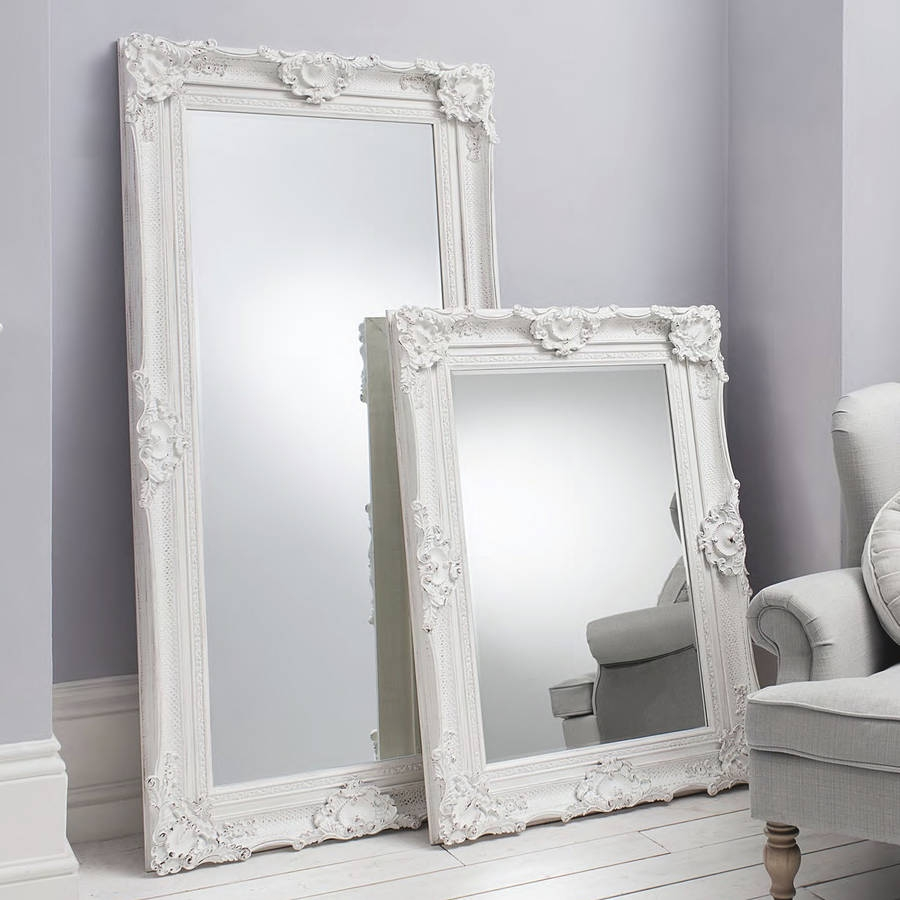 Ornate White Wall And Leaner Mirror Primrose Plum Regarding Ornate Free Standing Mirror (Image 11 of 15)
